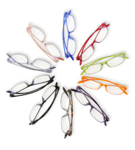Brillen auf einer Optikermesse